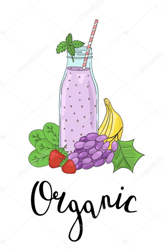 Imágenes Frutas Animadas Con Frases Botella Batidos Con Frutas Y