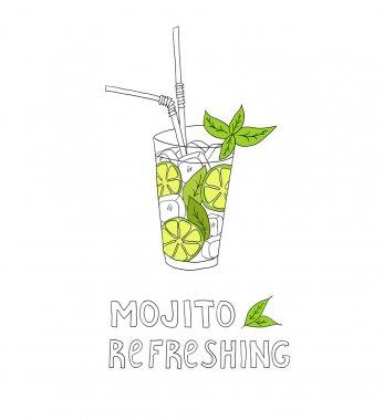 Hand drawn illustration of cocktail. MOJITO.