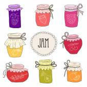 Photo The set of hand drawn jars with home-made jams.