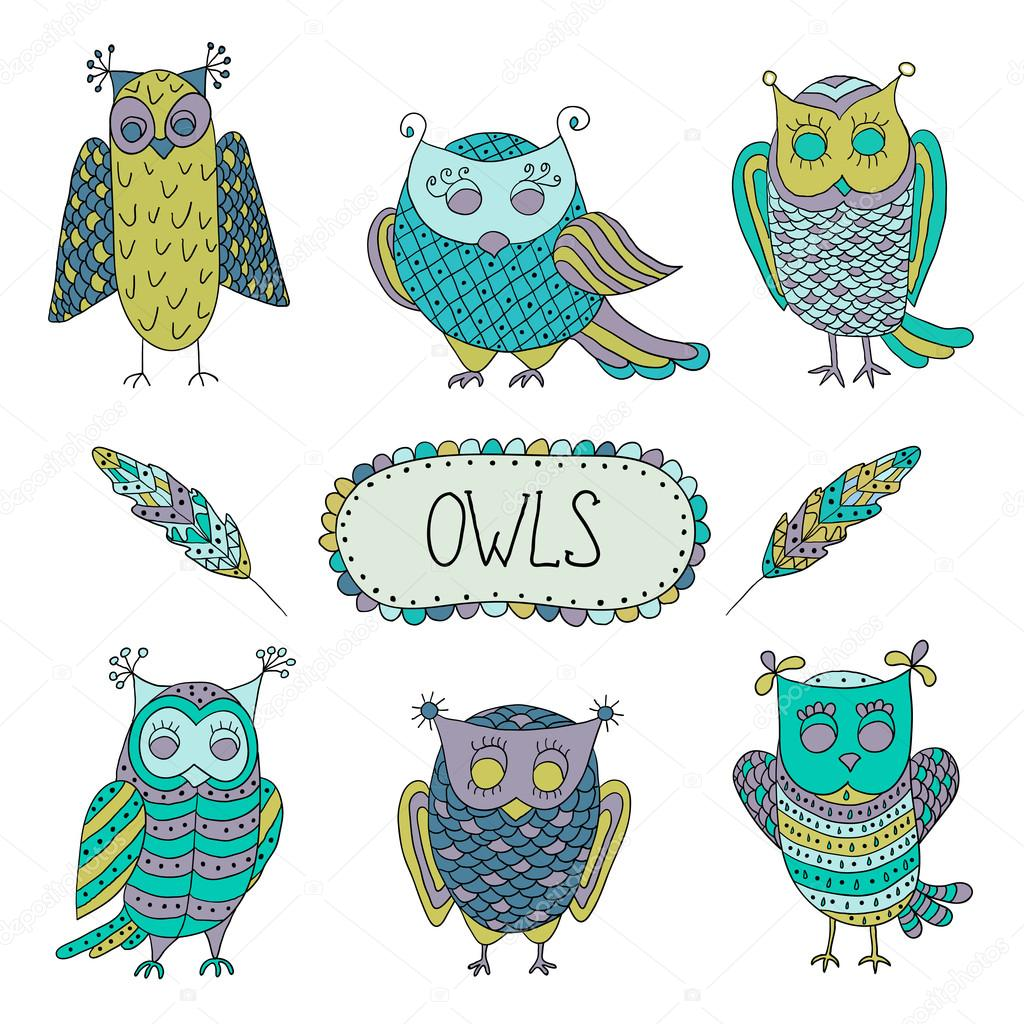 Cute cartoon vector owls  with  feathers