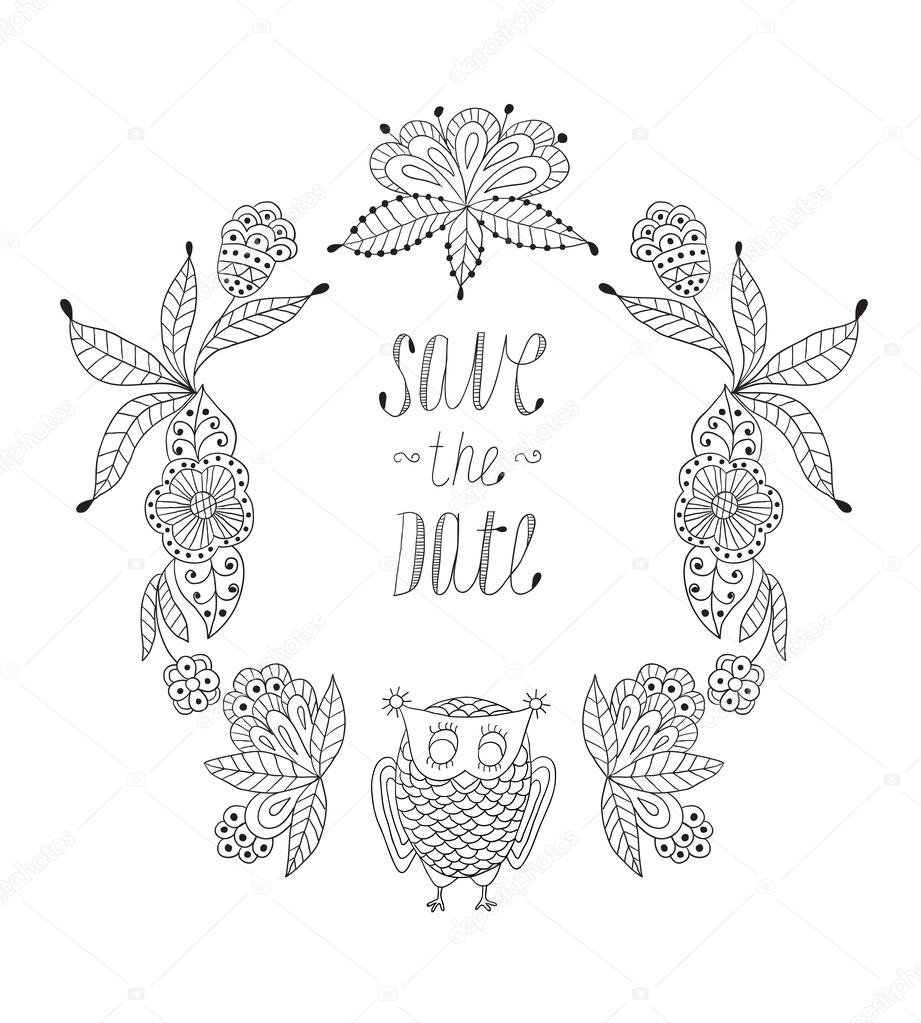 Cute cartoon vector owls  in  frame of leaves and flowers