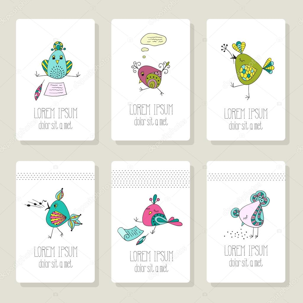 Cards with the image of birds in different actions.