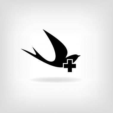 Swallow with a cross. Logo for medical centers and hospitals.