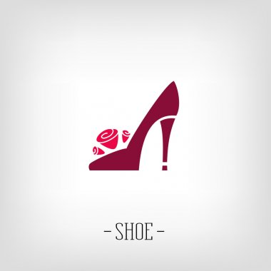 Stylized womens shoes. Logo shoe store.