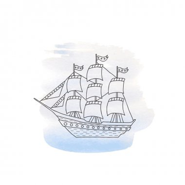 Ship with sails on watercolor background