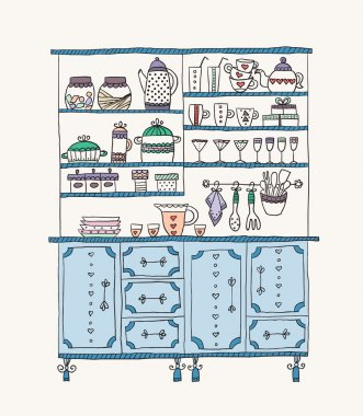 Kitchen Cabinet with various utensils.