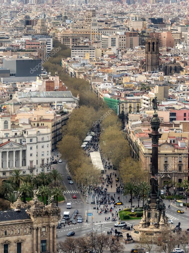 Vista aerea della rambla di barcellona foto stock for Hotel sulla rambla a barcellona