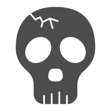 Skull with crack solid icon, halloween concept, cracked skull without lower jaw sign on white background, dead head icon in glyph style for mobile concept and web design. Vector graphics icon