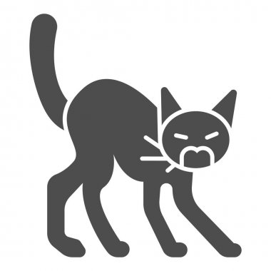 Angry black cat solid icon, halloween concept, hissing cat sign on white background, scared cat with arched back icon in glyph style for mobile concept and web design. Vector graphics icon