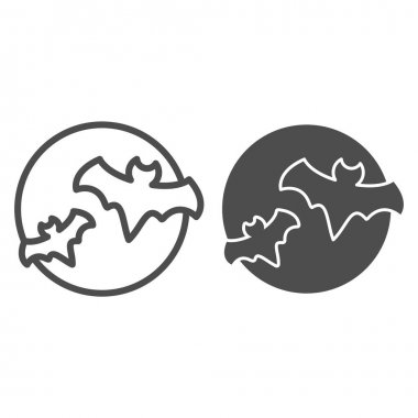 Bat with full moon clouds line and solid icon, halloween concept, big moon and two bats sign on white background, flittermouse flies in sky at night icon in outline style. Vector graphics icon
