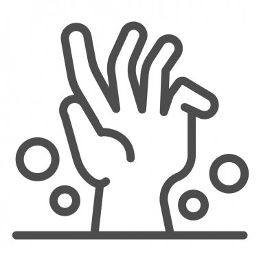 Dead man hand under ground line icon, halloween concept, zombie hand breaking out from under ground sign on white background, corpse hand icon in outline style. Vector graphics icon