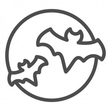 Bat with full moon clouds line icon, halloween concept, big moon and two bats sign on white background, flittermouse flies in sky at night icon in outline style. Vector graphics icon