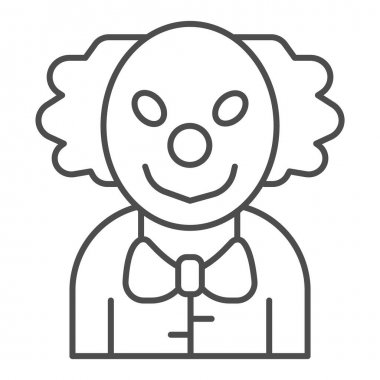 Evil clown thin line icon, halloween concept, smiling clown sign on white background, scary man on carnival icon in outline style for mobile concept and web design. Vector graphics icon
