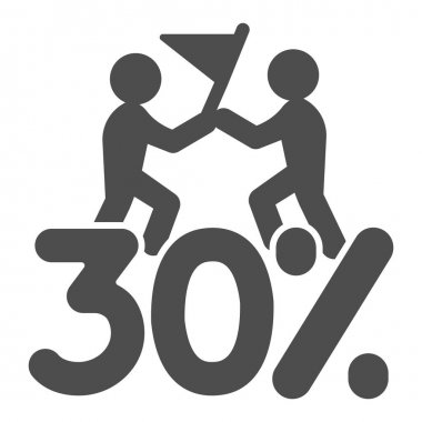Thirty percent discount sale solid icon, Black Friday concept, Special offer price sign on white background, Two people with flag and discount icon in glyph style. Vector graphics icon