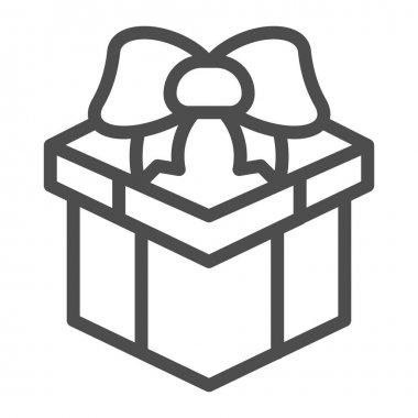 Box with bow for gift line icon, Black Friday concept, Giftbox with ribbon sign on white background, present icon in outline style for mobile concept and web design. Vector graphics icon