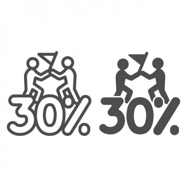 Thirty percent discount sale line and solid icon, Black Friday concept, Special offer price sign on white background, Two people with flag and discount icon in outline style. Vector graphics icon
