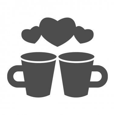 Couple of lovers cups solid icon, valentine day concept, Two cups with heart sign on white background, cup of hot drink icon in glyph style for mobile concept. Vector graphics icon