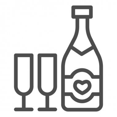 Bottle with heart and glass of champagne line icon, valentine day concept, sparkling wine in two glasses sign on white background, alcohol for holiday icon in outline style. Vector graphics icon