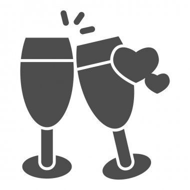 Champagne glasses with heart solid icon, valentine day concept, two glasses of drink sign on white background, toast to love icon in glyph style for mobile concept. Vector graphics icon