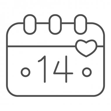 Calendar Fourteenth of February thin line icon, valentine day concept, Calendar sheet with holiday of love sign on white background, date of valentine day icon in outline style. Vector graphics icon