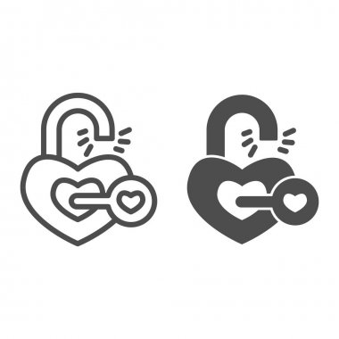Heart shaped lock and key line and solid icon, valentine day concept, key from heart sign on white background, love open heart icon in outline style for mobile concept and web design. Vector graphics icon