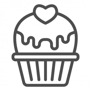 Cupcake with heart and glaze line icon, valentine day concept, muffin with icing sign on white background, cake with love icon in outline style for mobile concept. Vector graphics icon