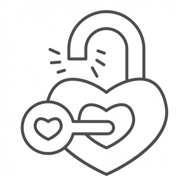 Heart shaped lock and key thin line icon, valentine day concept, key from heart sign on white background, love open heart icon in outline style for mobile concept and web design. Vector graphics icon