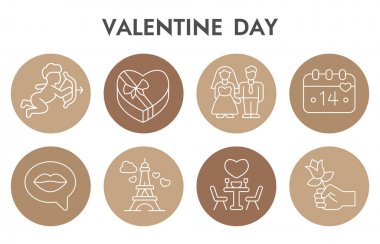 Valentine day infographic design template with icons. Couple in love infographic visualization on white background. Romantic trip to Paris. Creative vector illustration for infographic icon