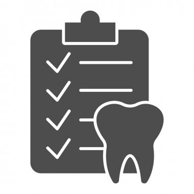 Dental checklist and tooth solid icon, Hygiene routine concept, Teeth Diagnostic Report sign on white background, Clipboard with human tooth icon in glyph style. Vector graphics icon