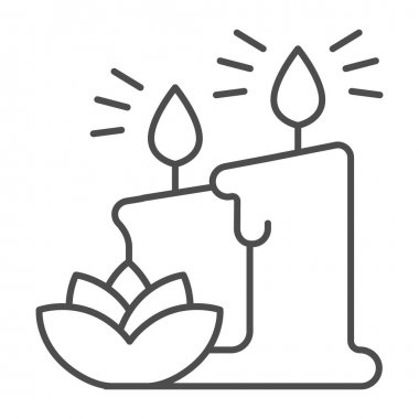 Wax candles and lotus flower thin line icon, Hygiene routine concept, elements of cosmetology and beauty salon sign on white background, two candles and flower icon in outline. Vector graphics icon