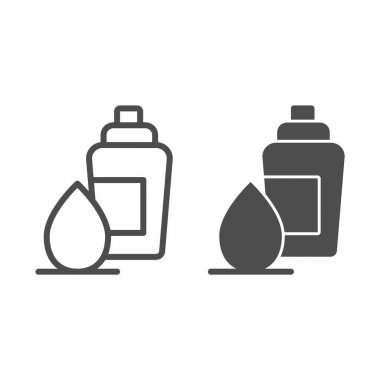 Sponge and foundation line and solid icon, makeup routine concept, Concealer and foundation applicator sign on white background, cream bottle with pump and egg sponge icon in outline. Vector graphics icon