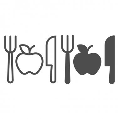 Fork with knife and apple line and solid icon, makeup routine concept, Healthy menu sign on white background, One apple with cutlery icon in outline style for mobile and web design. Vector graphics icon
