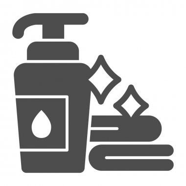 Liquid soap and clean towels solid icon, makeup routine concept, Hygienic products in bathroom sign on white background, towel and bottle of soap icon in glyph style. Vector graphics icon