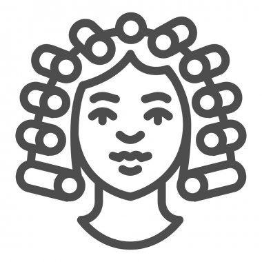 Hair rollers on girl head line icon, makeup routine concept, Hairdresser salon sign on white background, girl with curlers on her head icon in outline style for mobile. Vector graphics icon