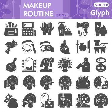 Makeup routine solid icon set, skin care and make up symbols collection or sketches. Self care glyph style signs for web and app. Vector graphics isolated on white background icon