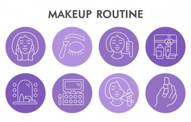 Modern make up routine Infographic design template with icons. Cosmetics for skin care Infographic visualization in bubble design on white background. Creative vector illustration for infographic icon