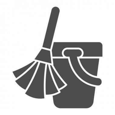 Broom and bucket solid icon, cleaning tools concept, home cleaning sign on white background, broom bucket icon in glyph style for mobile concept and web design. Vector graphics icon