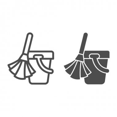 Broom and bucket line and solid icon, cleaning tools concept, home cleaning sign on white background, broom bucket icon in outline style for mobile concept and web design. Vector graphics icon