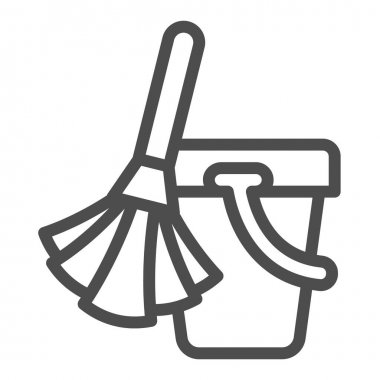 Broom and bucket line icon, cleaning tools concept, home cleaning sign on white background, broom bucket icon in outline style for mobile concept and web design. Vector graphics icon