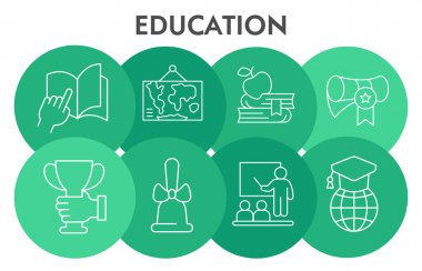 Education Infographic design template with thin line icons. Finance sanction Infographic visualization in bubble on white background for presentation. Creative vector illustration for infographic.