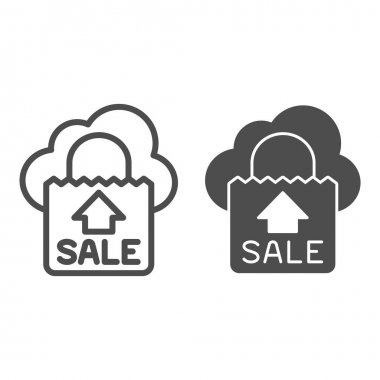Big sale package line and solid icon, shopping concept, big sale bag sign on white background, sale bags icon in outline style for mobile concept and web design. Vector graphics icon