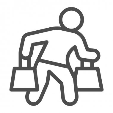 Man carrying shopping bags line icon, shopping concept, man with packages sign on white background, man carrying shopping bags icon in outline style. Vector graphics icon