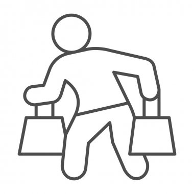 Man carrying shopping bags thin line icon, shopping concept, man with packages sign on white background, man carrying shopping bags icon in outline style. Vector graphics icon