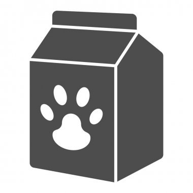 Pet food box solid icon, animal hospital concept, pet food sign on white background, Bag of food with paw icon in glyph style for mobile concept and web design. Vector graphics icon