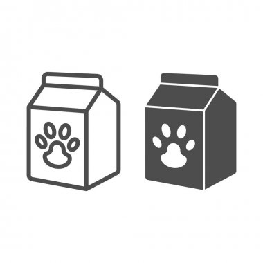 Pet food box line and solid icon, animal hospital concept, pet food sign on white background, Bag of food with paw icon in outline style for mobile concept and web design. Vector graphics icon