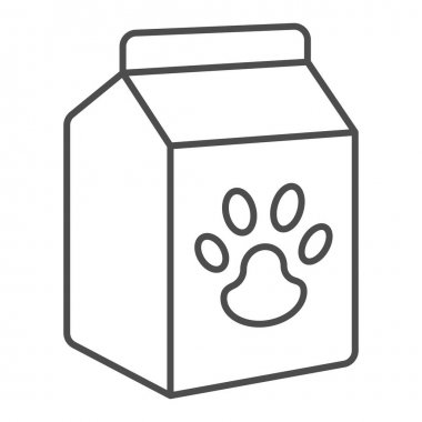 Pet food box thin line icon, animal hospital concept, pet food sign on white background, Bag of food with paw icon in outline style for mobile concept and web design. Vector graphics icon