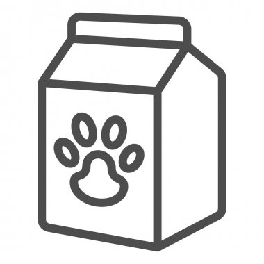 Pet food box line icon, animal hospital concept, pet food sign on white background, Bag of food with paw icon in outline style for mobile concept and web design. Vector graphics icon