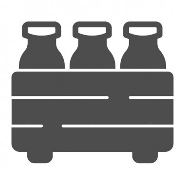 Box with milk bottles solid icon, dairy products concept, packaging for milk sign on white background, Milk bottles in carrier icon in glyph style for mobile, web design. Vector graphics icon