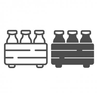 Box with milk bottles line and solid icon, dairy products concept, packaging for milk sign on white background, Milk bottles in carrier icon in outline style for mobile, web design. Vector graphics icon