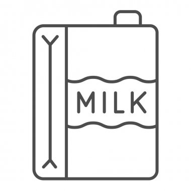 Paper carton of milk thin line icon, dairy products concept, dairy product box sign on white background, Milk Carton icon in outline style for mobile concept and web design. Vector graphics icon